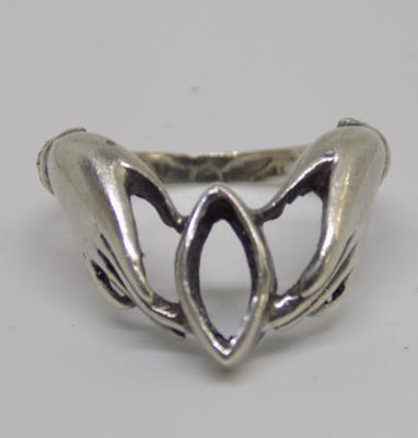 Unusual vintage silver hands ring
