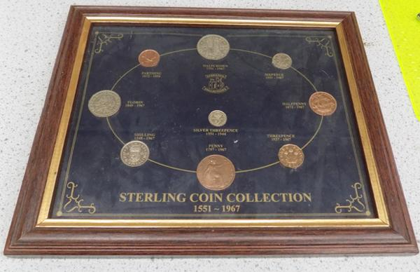 Framed sterling coin collection 1551-1967