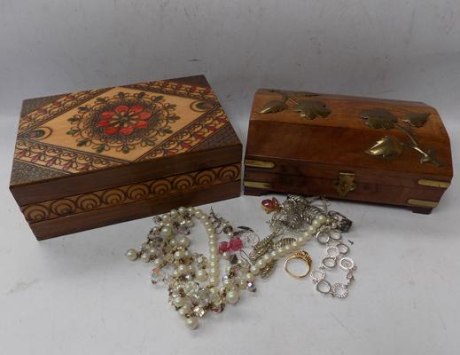 Wood & brass decorated jewellery box & wooden jewellery box & contents