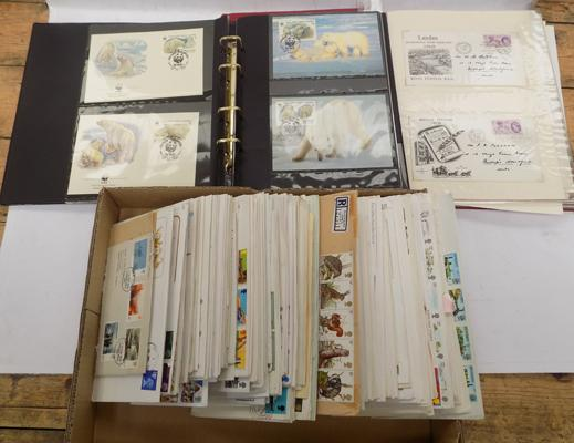 Albums & box of first day covers & stamps