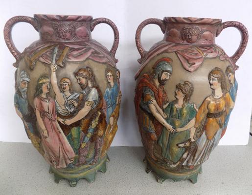 Pair of large German urns (1 with chip to base)