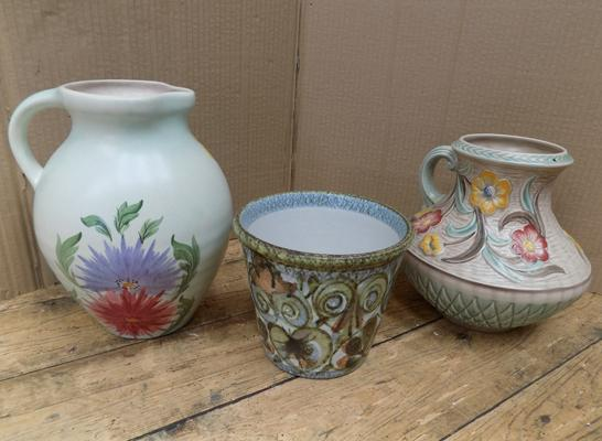 Two vintage jugs & Denby planter (incl. Radford + Woods pottery)