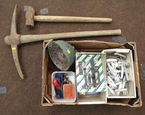 Large box of tools incl. garden tools, door handles etc.