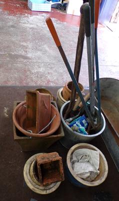 Selection of garden tools + terracotta planters etc...
