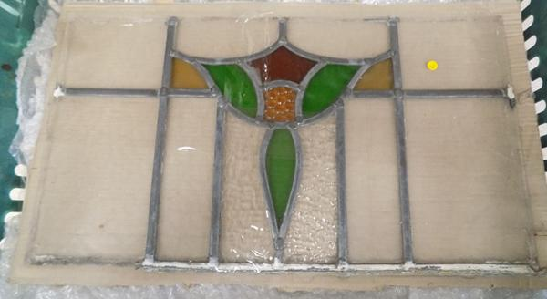 5 leaded stained glass panels