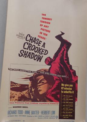 Warner Bros. 1950's movie poster 'Chase a Crooked Shadow'