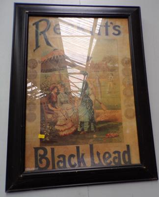 Framed Reckitts black lead advertising poster