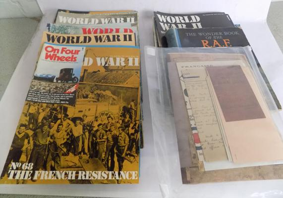 Collection of 45 WWI books + ephemera