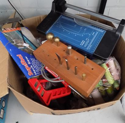 Box of mixed craft items, incl. solder iron