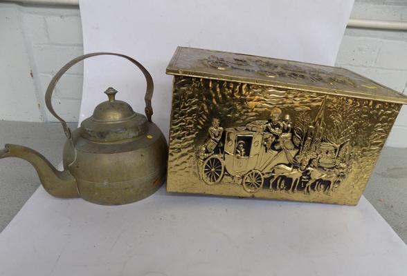Brass log box & brass kettle