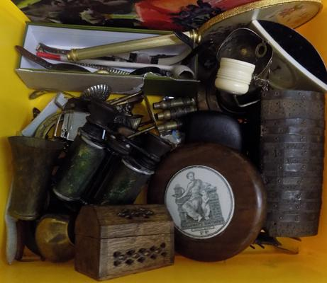 Tub of vintage collectables, jewellery, watches, lighters, brass etc...