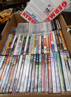 3 boxes of mixed DVDs, CDs + blanks