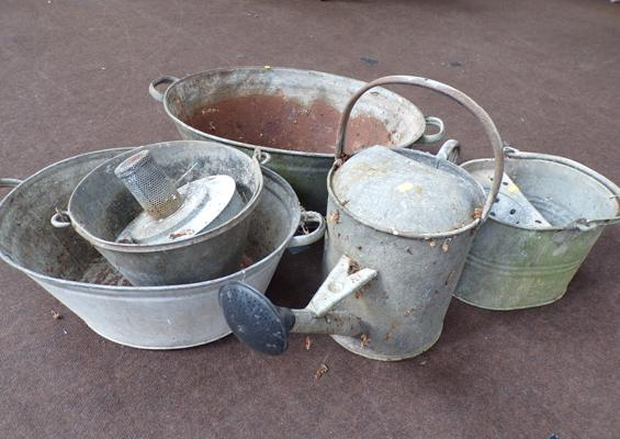 Galvanised mop bucket watering can, paraffin lamp and 2 tubs etc. piano stool