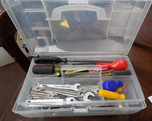 Plastic toolbox & selection of clean tools