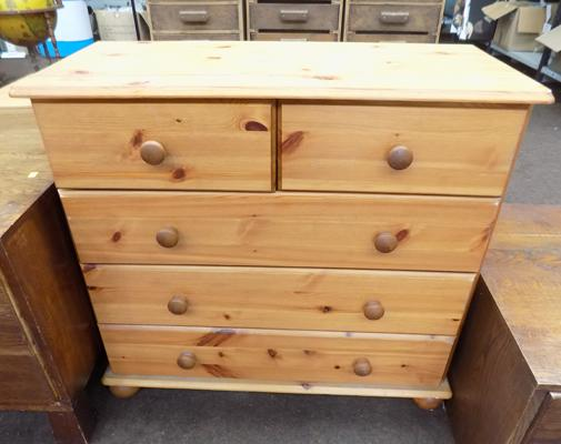 Two over three pine chest of drawers