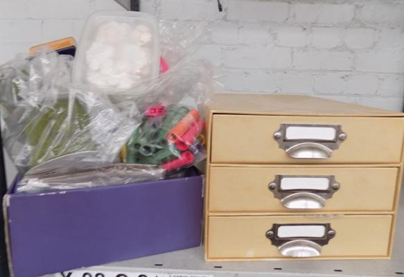 Box of ribbon + craft drawers
