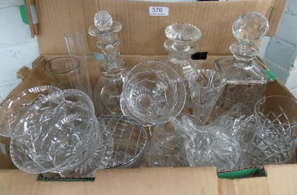 Box of cut glass, incl. decanters
