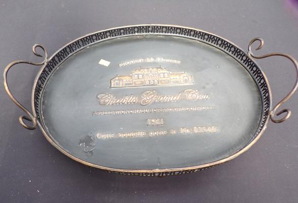 Commemorative 1911 French hotel serving tray