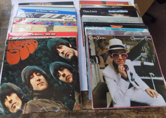 Box of mixed LPs, incl The Beatles