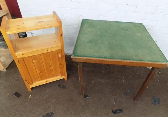 Pine Remploy cabinet and vintage card table