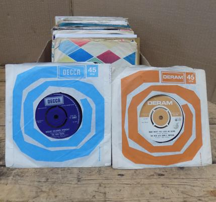Box of 7 inch vinyl singles, mainly 1960s