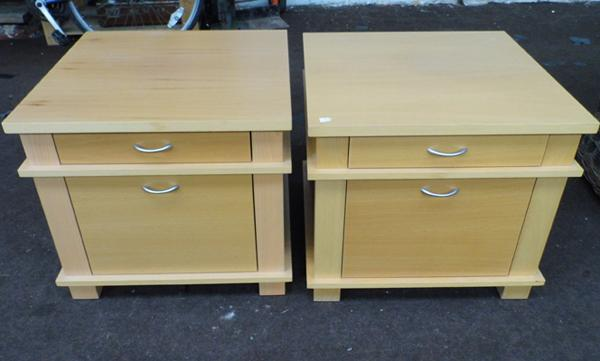 Pair of light maple bedside cabinets