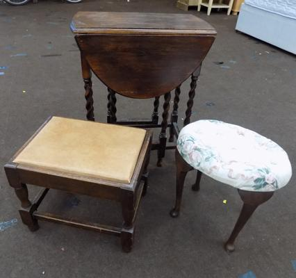 Vintage oak, gate legged table & two stools