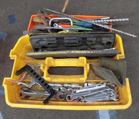 Two  trays of tools, incl. spanners