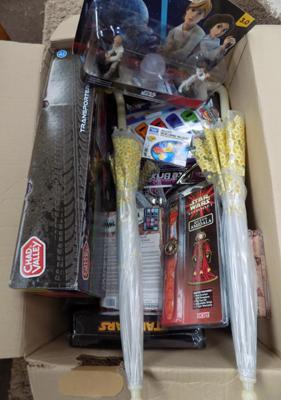 Box of mixed items, incl. new toy