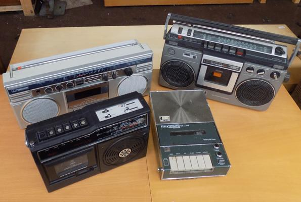 Selection of four vintage radio/cassette players