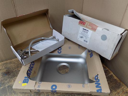 Sealed sink with mixer tap & cooker hood venting kit (unused, unopened)