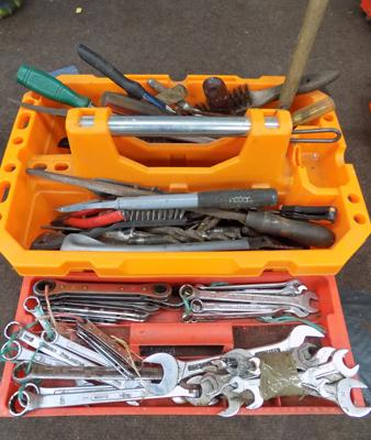 Two trays of tools, incl. spanners etc...