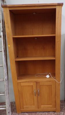 Wooden display cabinet with cupboard below