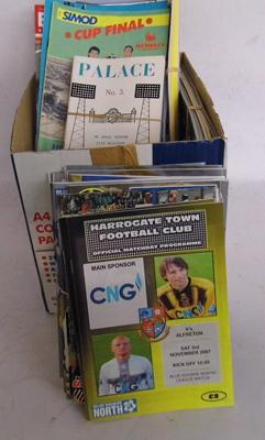 Box of football programmes +memorabilia, many vintage