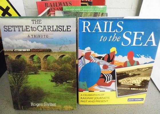 Box of railway books, many hardbacks