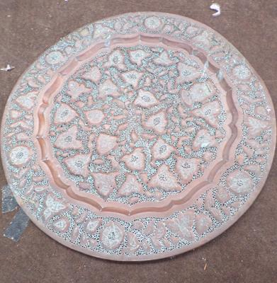 Pierced copper, large, approx. 35 inch charger
