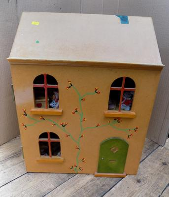 Wooden doll's house, selection of doll's furniture included