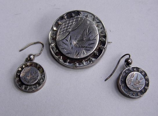 Silver set brooch & earrings, Birmingham 1922