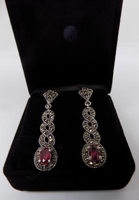 Pair of silver red stone & marcasite earrings