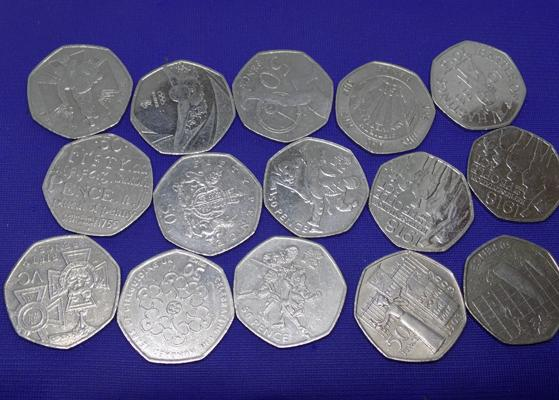 15x 50 pence pieces incl. Olympics and wartime