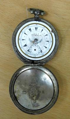 Late Victorian 800 silver pocket watch with Turkish face - spares & repairs - London 1895