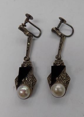 Pair of Art Deco silver pearl earrings