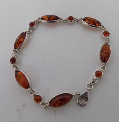 925 Sterling silver silver ladies baltic amber bracelet