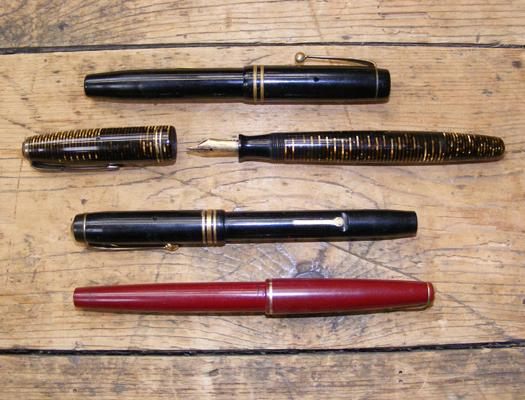 4x Fountain pens incl. Parker, Conway Stewart - 3 with 14ct gold nibs