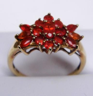 9ct gold Mexican fire opal cluster ring size O 1/2