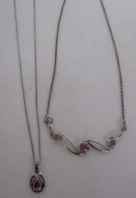 2 x 925 Silver amethyst necklaces