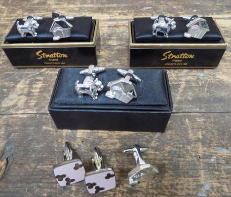 4x Sets of cuff links, 3 in box, Stratton & Harvey Makin