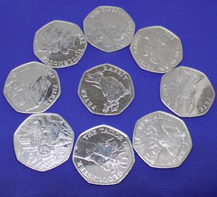 9x 50 pence pieces incl. Beatrix Potter and Paddington