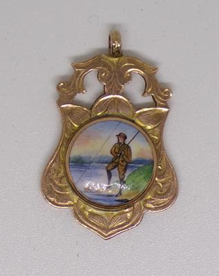9ct rose gold fob with enamel fisherman scene