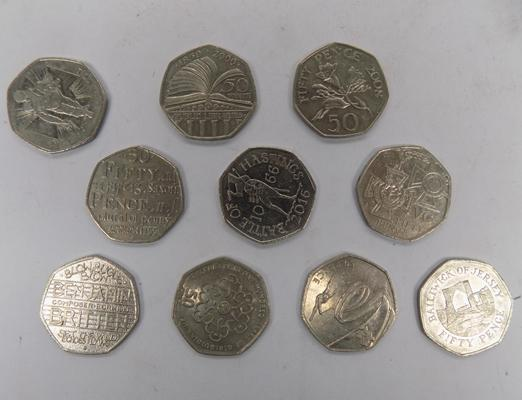 10 collectable mixed 50ps